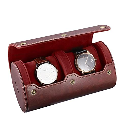 HOMEJYMADE Reise Vintage Uhr Speicher,2 Steckplatz Pu-Leder Flexibel Uhr Inhaber Mit Halterung,Männer Uhr Speicher Veranstalter Für Geschäftsreise Home Travel-Braun 17.5 x 9.5 cm/6.9 x 3.7 in