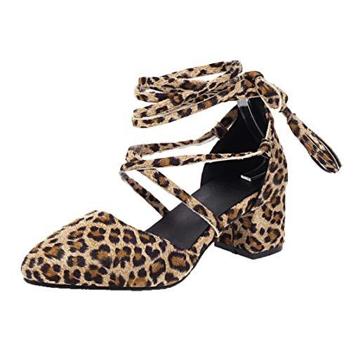 MISSUIT Damen Chunky Heels Pumps mit Schnüren Blockabsatz und Fransen Cross Strap Schuhe(Leopardenmuster,41)