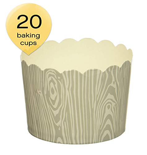 Simply Baked Lg Grey Birch Wood Grain/ 20pk-NEW Disposable Paper Baking Cup, Large
