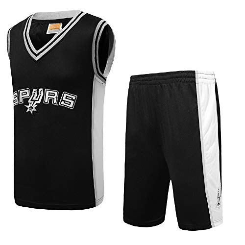 Li Longue Broderie Sweat Spurs Gilet Costume de Broderie de compétition Uniforme équipe Maillot de Basket-Ball Sport de Formation de Basket-Ball Costume Uniforme (Color : 2, Size : 2XL)