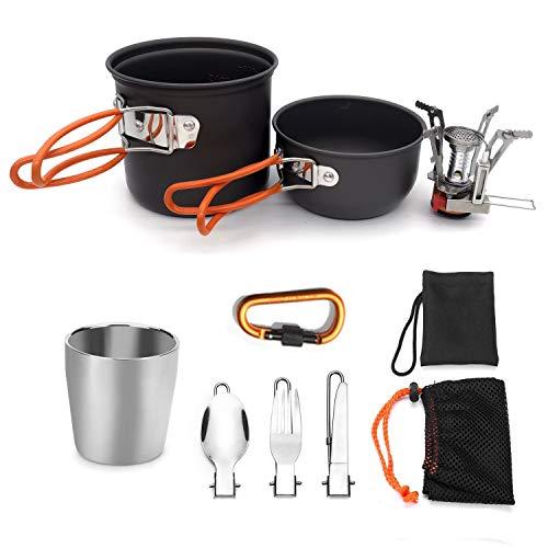 DCGSADFW outdoor camping ultra light pot badpak met servies DCGSADFW oranje