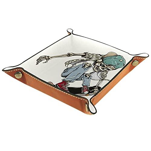 Schädel-Skateboard Leder Tablett Nachttisch Aufbewahrungstablett Herren Damen Schmuck Aufbewahrungsbox Schlüssel Portemonnaie Münzbox Reise PU Valet Tray