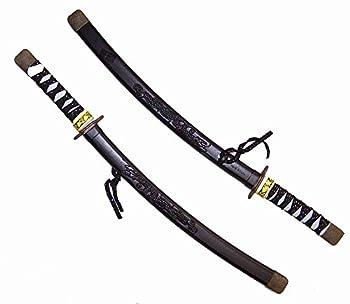 2 Black Color 24 Inch Plastic Dragon Ninja Toy Play Swords