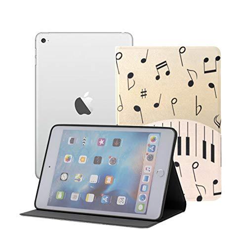 IpadMiniTabletCase Abstract Piano Music Note Black IpadCaseSlimFolio Ipad Mini 1/2/3 Auto Sleep/wake With Multi-angle Viewing For Ipad Mini 3/ Mini 2/ Mini 1