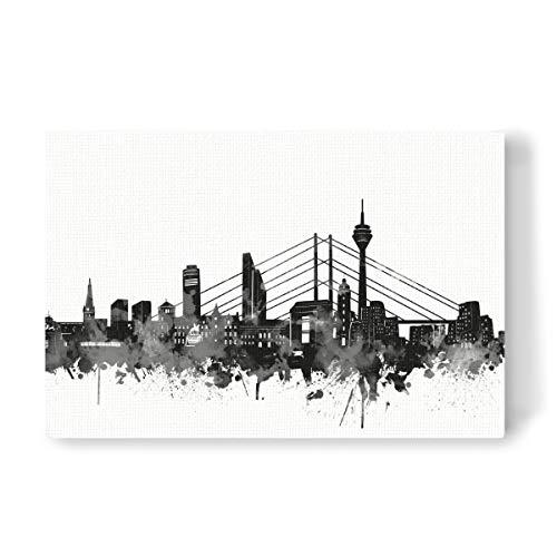 artboxONE Leinwand 90x60 cm Städte Düsseldorf City Black and White von Bekim Mehovic