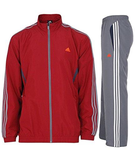 Adidas hommes Survêtement Combinaison en polyester TS Basic 3S - rouge-gris, D9 (48) 56