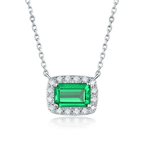 Bishilin Colgante de Cadena de Oro Blanco 18K para Mujer, Rectángulo de Esmeralda de 0,9 CT con Diamantes de 0,21 CT Collares Pendientes Elegante Collares Pendientes para Mujeres Niñas