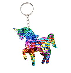 Unicorn Keyring covered in sparkles Perfect for extra sparkle as a luggage accessory/bag When reversed the sequins turn from rainbow to a shade of silver Sent inside an organza bag Mermaids, Dinosaurs and Hearts also available
