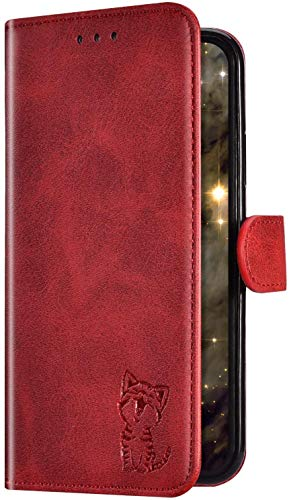 Uposao Compatible avec Coque Huawei P20 Lite Cuir PU Leather Premium Housse de Protection,Pochette Portefeuille à Rabat Clapet Porte-Cartes Magnétique Flip Fonction de Support Etui,Rouge