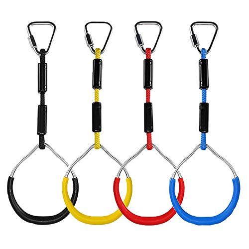 FBSPORT 4 Stück Klettern Ringe für Kinder, Outdoor Indoor Kinder Ninja Ringe zum Aufhängen belastbar bis 160KG, Klettergeräte Schaukeln für Garten