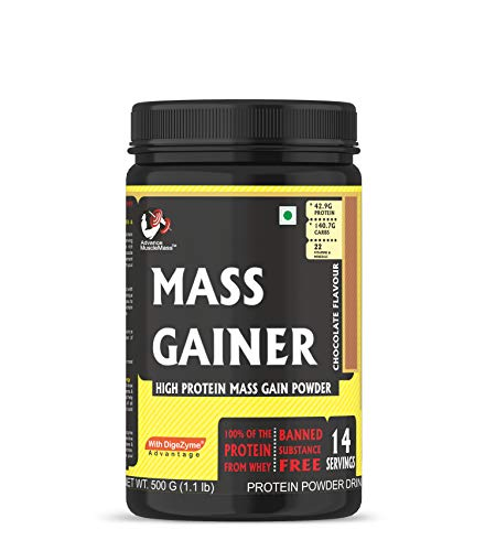 Advance MuscleMass Mass Gainer with Enzyme Blend | 7.15 G Protein | 23.46 G Carbs | Raw Whey from USA | Chocolate Flavour | 500 G (1.1 lb)