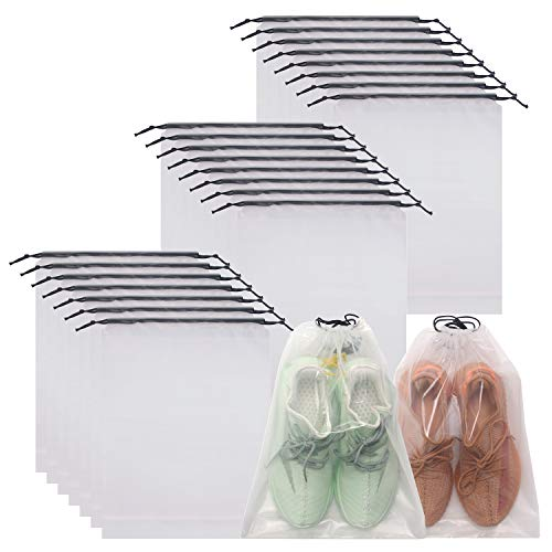 DIOMMELL Set of 24 Transparent Shoe Bags for Travel Large Clear Shoes Storage Organizers Pouch with Rope for Men and Women