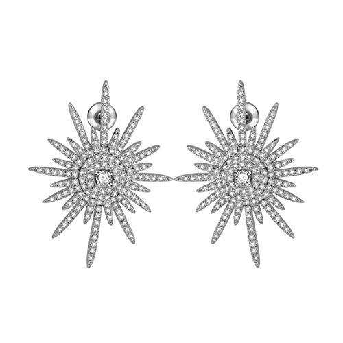 Braiton S925 Silver Needle 3A Zircon Pop Pendientes Pendientes geométricos Irregulares Pendientes Brillantes Son adecuados para Fiestas nocturnas Novias de Noche,Plata
