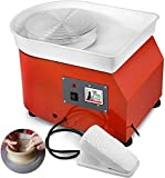 FlySkip Pottery Wheel Pottery Forming Machine 25CM 350W Electric Pottery Wheel with Foot Pedal DIY Clay Tool Professional Ceramic Machine for Work Clay Art Craft (Red)