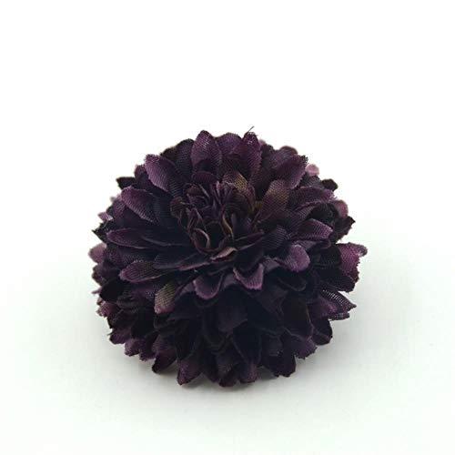 AOA Künstliche Pompons aus Seide, Blütenköpfe, Hortensien, 5 cm, 30 Stück deep purple