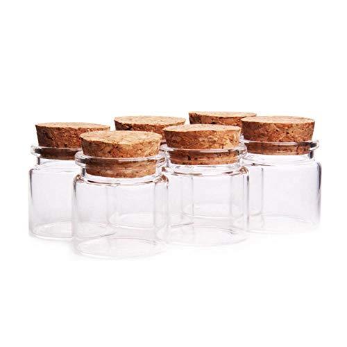 Fiesta Cotigo– 24 Piezas Mini Frascos con Tapones de Corcho, Pequeña Tarros de Vidrio,Bote de cristal para aromas,especias,boda,comunión,mensaje,recuerdo de fiesta(37mm x 40mm,20ml)