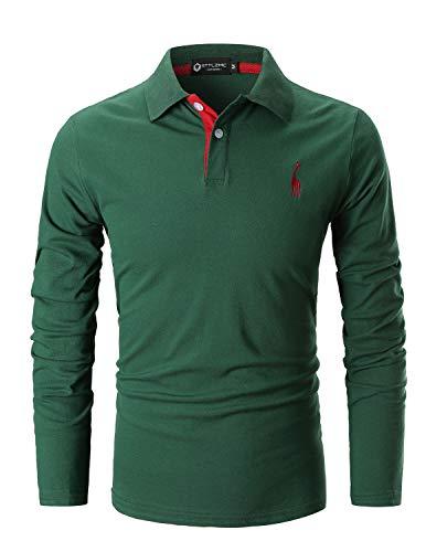 STTLZMC Polo Hombre Mangas Largas Camiseta Casual Botón Cuello Slim Fit 100% Algodón Golf,Verde,Large