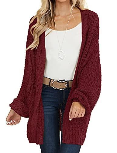 MEROKEETY Women's Open Front Chunky Knit Sweater Oversized Lantern Sleeve Cardigan Outwear Wine