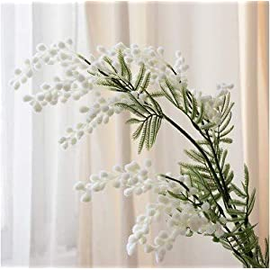 Artificial and Dried Flower 86cm 3 Forks Artificial Acacia Yellow Mimosa Plush Pudica Spray Cherry Fake Silk Flower Wedding Party Decor Red Bean Plant – ( Color: B; Size: 1 Pcs )