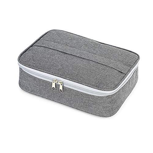 HMMJ Bolsa de Almuerzo aislada, Organizador de Almuerzo Reutilizable Multi-Compartimento, Resistente al Desgaste Impermeable para Hombres y Mujeres. Picnic o Viajes (Color : Gray)