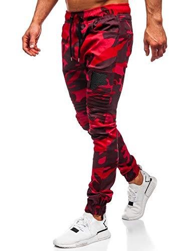 BOLF Hombre Pantalón Jogger Diseño Camuflaje Pantalones de Algodón Estilo Casual Athletic 0829 Rojo L [6F6]