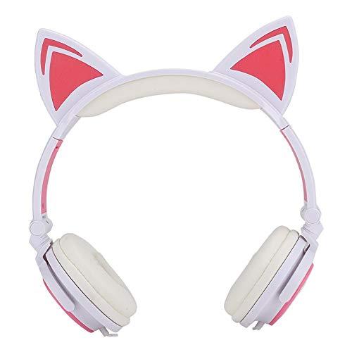 Koptelefoon voor kinderen met kattenoren, 3D-geluidskwaliteit, PC-headset, Ruisonderdrukking, Supercomfortabele zachte, bekabelde over-ear koptelefoon met functie voor het delen van muziek(Roze)