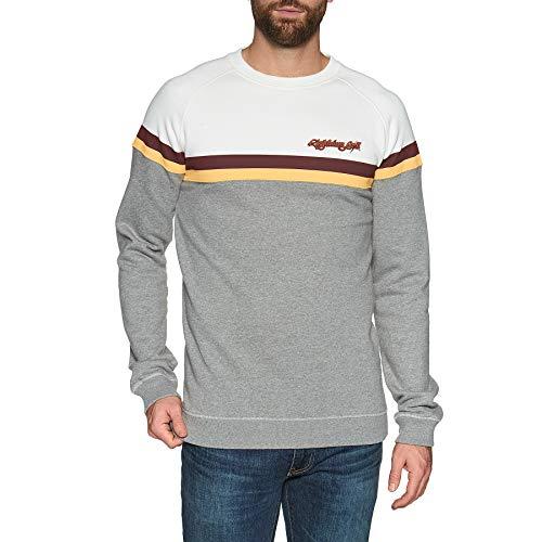 Lightning Bolt Color Block Fleece Crew Sweater Small White