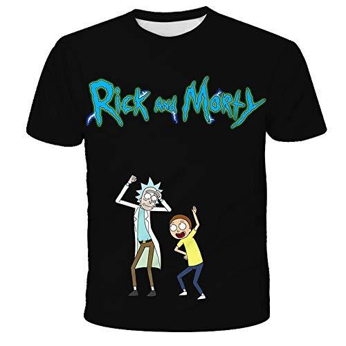 qinheny Rick And Morty Summer 3D T-Shirt T-Shirt Casual da Donna Stampata in 3D in Cotone A Maniche Corte da Uomo-Tk0061_4XL Motivo Davanti = Motivo Dietro