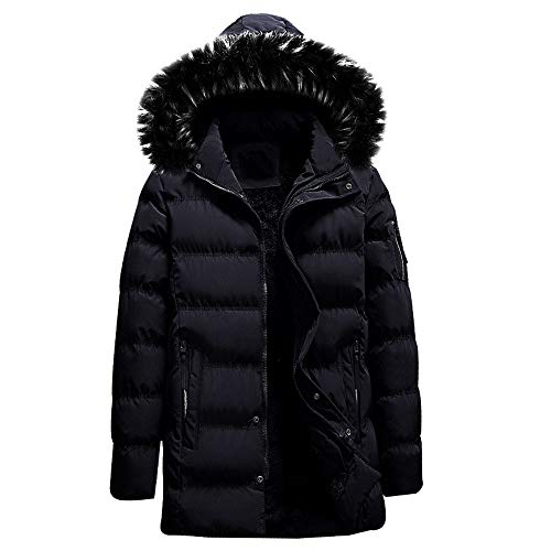 MODOQO Men's Winter Warm Down Parka Coat with Fur Hood Zipper Hoodies Jacket (Black,3XL)