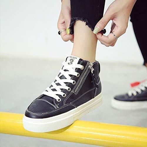 Zapatillas Forma Material de Alta Frente Straptoe Helpsole Deporte del Cuero de Zapatos del Estudiante Femenino otoño de Fondo Plano Superior Ocasional Womenapplicable Género