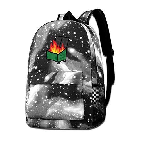 IUBBKI Mochila lateral negra Mochilas informales Dumpster Fire Backpack Starry Sky Multi-Function Bookbag Laptop Shoulder Bag for Teens Boys Girls Gray