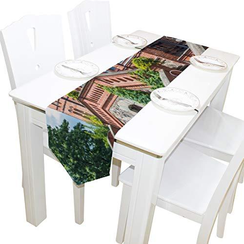Yushg Elegante Gotische Architektur Kirche Kommode Schal Tuch Abdeckung Tischläufer Tischdecke Tischset Küche Esszimmer Wohnzimmer Hause Hochzeitsbankett Decor Indoor 13x90 Zoll