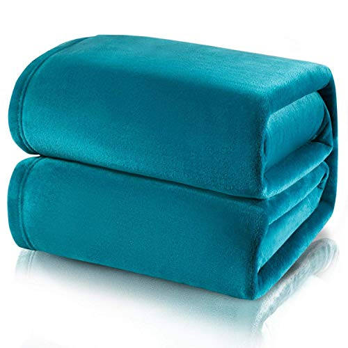 NATURELIFE - Manta para Sofa de Franela 230x270 cm - Manta para Cama 180 Aprox Reversible de 100% Microfibra Extra Suave - Manta Azul Transpirable
