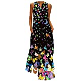 Women Sundress Butterfly Print Sleeveless V Neck Tank Dress Casual Loose Long Maxi Dress Holiday Party Beach Tunic Dresses(Black,2XL)