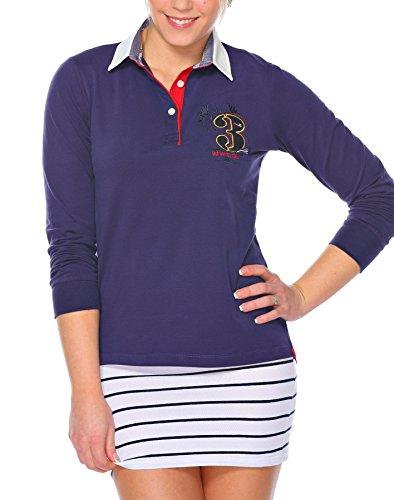 M.Conte Damen Poloshirt Polo-Sweat Sweatshirt Langarm Montserrat Blau S