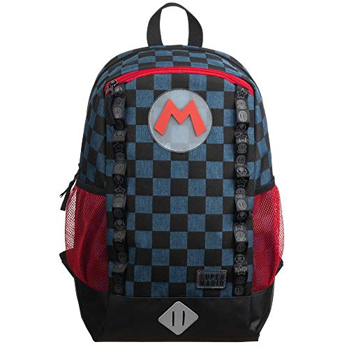Super Mario Video Game Navy and Checker Backpack