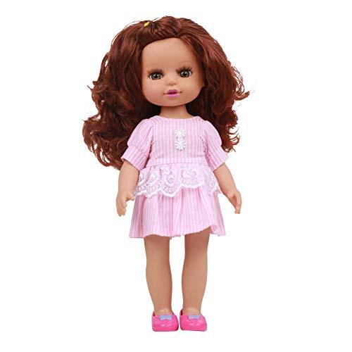 QqHAO Karikatur-Puppe, blau Hosenträger-Rock, Goldene Glattes Haar-Zopf-Mädchen, Mädchen-Prinzessin Simulations-Spielzeug Geburtstags-Geschenk Puppe 35Cm,8