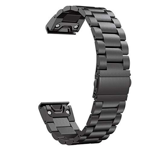 Correa de acero inoxidable de Eariy, compatible con Garmin Fenix 6S Pro, pulsera de cambio rápido, resistente a los arañazos y al desgaste, Nobel y moda, adecuada para adultos y hombres y mujeres, Negro