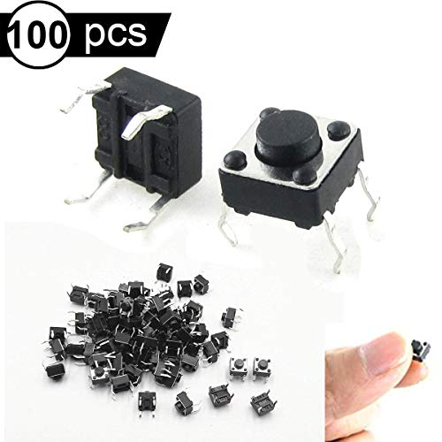 Youmile 100PACK Tact Button Schalter 6x6x4,3mm 6 * 6 * 4,3mm 4 Pin Micro PCB SMD SMT Momentan Tactile Tact Push Button Schalter 4 Pin DIP