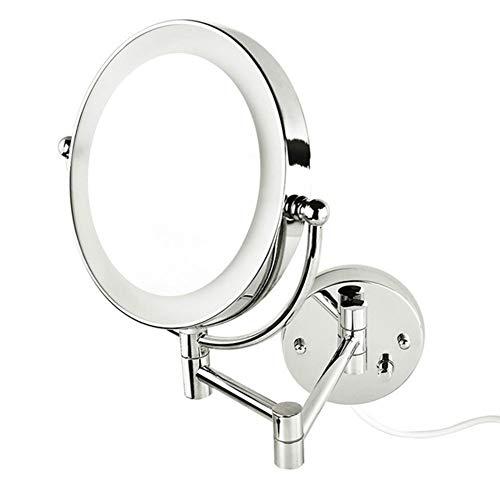 Miroir Grossissant Mural Lumineux X10 8,5 Pouces LED Salle De Bain Miroir Murale 360 Degrés Rotation Bouton de réglage de l'intensité Loupe 10x et Miroir Plane Ordinaire EU Plug