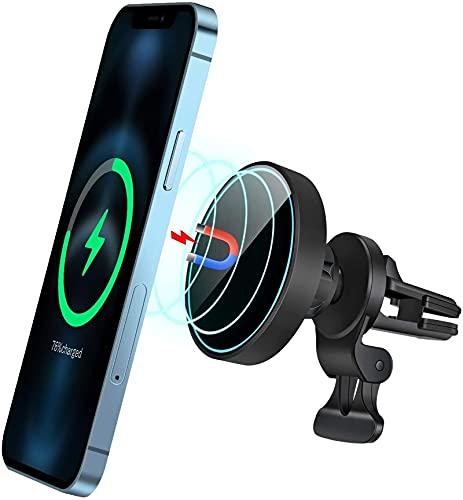 Mag-Safe Car Charger Wireless Mount 360 ° Accesorio de rotación Auto-alineación automática y sujeción Magnético 15W Qi Carga rápida Soporte de teléfono de ventilación de aire para i-teléfono 12/12 PRO
