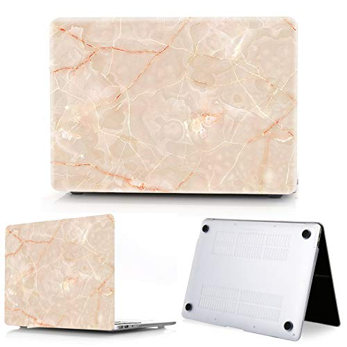 New Marble Laptop Case for Macbook Touch ID Air 13 case A1932 Pro 12 16 15 11 inch shell For Macbook Pro 13 case +Keyboard Cover-pink-Model A1502 A1425