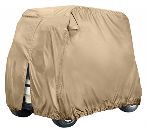 Leader Accessories Golf Cart Cover Storage Cover Fit EZ Go, Club Car, Yamaha Cart - Beige W Zipper (2-Person)