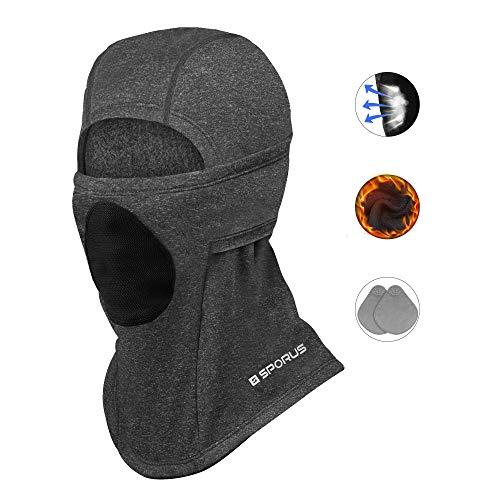Sturmhaube mit atmungsaktivem Filter, doppeltem Ohrenschutz, Winddichte Balaclava für Ski Motorrad Fahrrad [Dunkelgrau]