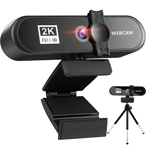 Webcam with Microphone,2K Full HD Webcam with Cover,Tripod and Dual Microphones, Wide-Angle Webcam for PC,Desktop,Laptop,Mac,Web Camera for Video Chat,Online Classes,Conference,Recording,Game…