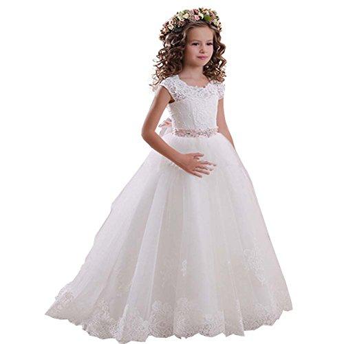 KekeHouse® Manga Corta Vestido de niña de Las Flores de Tul Vestido de Encaje de cumpleaños Vestido de Primera comunión