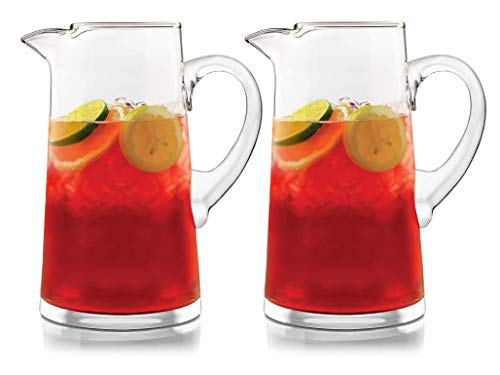 Crisa Cantina Glass Pitcher, 80-Ounce, 2 Pack