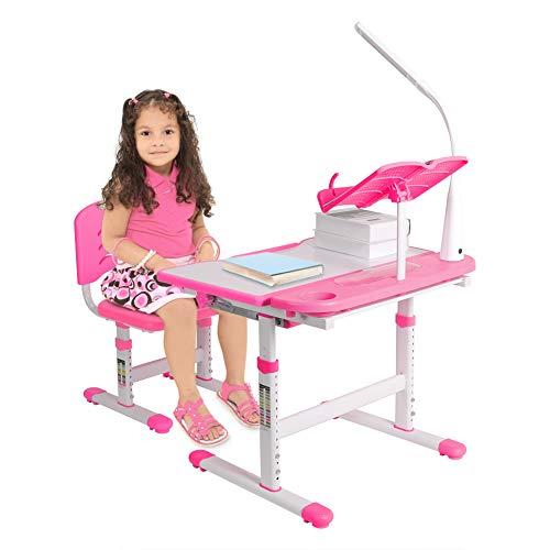 Kindersitzgruppe Höhenverstellbar Schülerschreibtisch Jugendschreibtisch für Kinder Schreibtisch für Kinder 3-12 Jahre Girls Boys mit Stuhl LED Lampe Leseständer (Rosa)