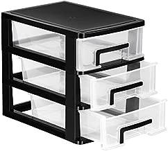 VOSAREA 3 Drawer Desktop Storage Organizer,Plastic Containers Storage Organizer Dresser Organizer Home Dresser (Black and Transparent)