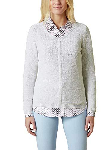 Walbusch Damen Pullover Sternenstaub einfarbig Weiß 46
